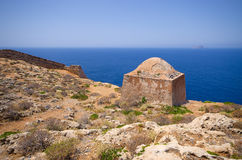 Ruins of old fortress on Gramvousa island, Crete, Greece Royalty Free Stock Image