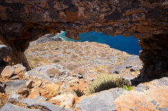 Ruins of old fortress on Gramvousa island, Crete, Greece Stock Images