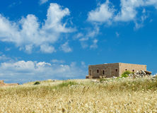 Ruins of old fortress and town in Rethymno Royalty Free Stock Photos