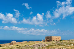 Ruins of old fortress and town in Rethymno Royalty Free Stock Images