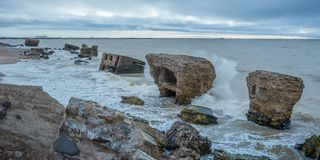 Ruins of old forts in the Baltic sea. stock photo