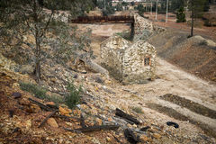 Ruins of an old house and bridge in Mina de Sao Domingos, Mértola, Portugal Royalty Free Stock Photography