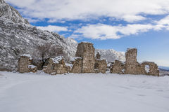 Ruins. Of an old house on mountain Velebit in Dalmatia, Croatia. Covered in snow Royalty Free Stock Image