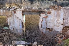 The ruins of an old house stock images
