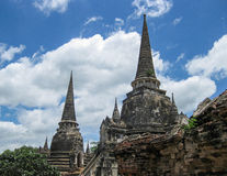 Ruins  of The Old Kingdom of Ayutthaya. This  city was destroyed by the Burmese army in 1767  The ruins of the old city are preserved in the Ayutthaya historical Royalty Free Stock Photos