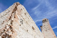 Ruins of old medieval castle . fortified wall and tower detail brick.  Stock Photos