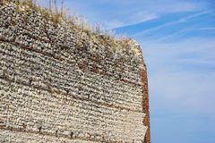 Ruins of old medieval castle . fortified wall and tower detail brick Royalty Free Stock Image