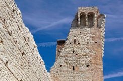 Ruins of old medieval castle . fortified wall and tower detail brick Royalty Free Stock Photos
