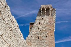 Ruins of old medieval castle . fortified wall and tower detail brick.  Stock Image