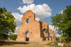 Ruins of old monastery Arača near Novi Bečej. Medieval Romanesque church Arača was built in 13th century, near the city of Novi Bečej in Vojvodina northern Royalty Free Stock Image
