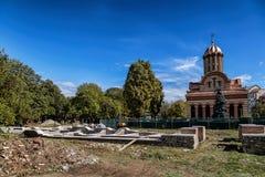 The ruins of the old monastery at the Metropolitan church  in Targoviste, Romania.
