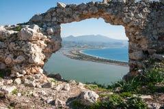 Ruins of the old Navarino castle, Peloponnesus, Greece stock photos
