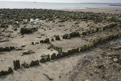 Ruins of old pier at Silver Sands beach in Milford, Connecticut. royalty free stock images