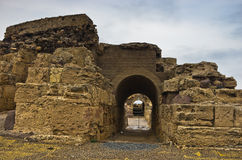 Ruins of old roman city of Nora, island of Sardinia Royalty Free Stock Images