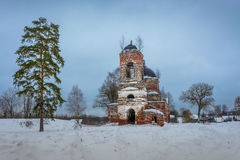 The ruins of the old Russian church. Stock Photos
