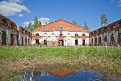 Ruins of old russian military quarters Stock Photos