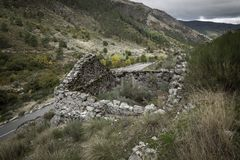 Ruins of an old rustic house in the glacier valley next to Manteigas. Town, Guarda district, Portugal stock photo