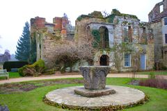 Ruins of the old Scotney castle stock photography