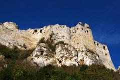 The ruins of the old Spis Castle. In Slovakia royalty free stock image