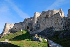 The ruins of the old Spis Castle. In Slovakia royalty free stock photos