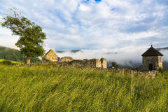 Ruins of the old stone Hussite fortification with watchtower in Royalty Free Stock Photography
