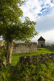 Ruins of the old stone Hussite redoubt form behind walls in Lú Royalty Free Stock Photos