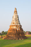 Ruins of the old stupa, chai watthanaram temple in ayutthaya. Thailand Royalty Free Stock Photography