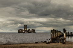 Ruins of Old Torpedownia Hexengrund on Baltic Sea in Babie Doly, Gdynia, Poland royalty free stock image