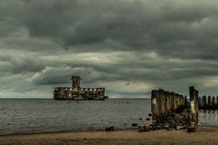 Ruins of Old Torpedownia Hexengrund on Baltic Sea in Babie Doly, Gdynia, Poland stock photos