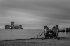 Ruins of Old Torpedownia Hexengrund on Baltic Sea in Babie Doly, Gdynia, Poland stock photography