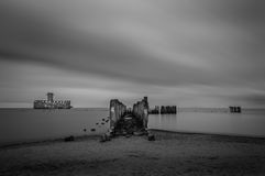 Ruins of Old Torpedownia Hexengrund on Baltic Sea in Babie Doly, Gdynia, Poland stock images