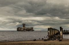 Ruins of Old Torpedownia Hexengrund on Baltic Sea in Babie Doly, Gdynia, Poland stock image