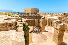 Ruins of old town in  Crete, Greece. It largest castle in central Europe Stock Photos
