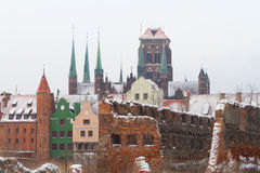 Ruins of old town in Gdansk. At frosty winter, Poland Royalty Free Stock Photography