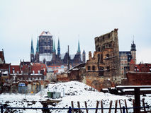 Ruins of old town in Gdansk Poland. Ruins of old town in Gdansk at frosty winter, Poland Royalty Free Stock Photography