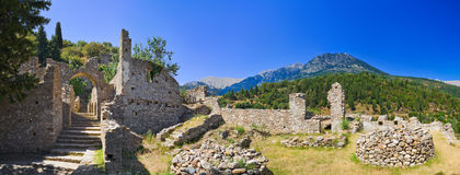 Ruins of old town in Mystras, Greece. Archaeology background Royalty Free Stock Photo