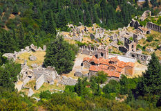 Ruins of old town in Mystras, Greece. Travel background Royalty Free Stock Images