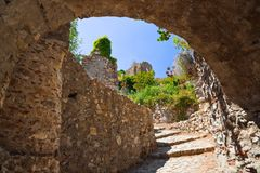 Ruins of old town in Mystras, Greece. Archaeology background Royalty Free Stock Images