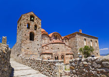 Ruins of old town in Mystras, Greece. Archaeology background Stock Photo