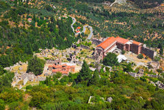 Ruins of old town in Mystras, Greece. Travel background Stock Photos