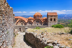 Ruins of old town in Mystras, Greece. Archaeology background Stock Images
