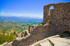 Ruins of old town in Mystras, Greece Royalty Free Stock Images