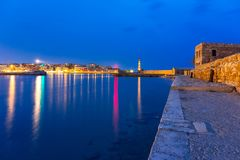 Ruins of the old Venetian port of Chania on Crete Stock Photos