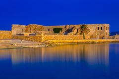 Ruins of the old Venetian port of Chania on Crete Stock Photo
