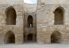 Ruins of old wall with arched cavities. At the citadel of Alexandria, Egypt royalty free stock photos