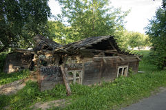 The ruins of the old wooden house royalty free stock image