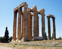 Ruins of Olympian Zeus temple, Athens stock images