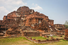 Ruins of one of the buildings of Wat Mahathat temple Royalty Free Stock Image