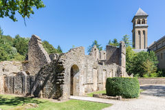 Ruins Orval Abbey in Belgian Ardennes. The abbey is also famous for its trappist beer and botanical garden stock photography