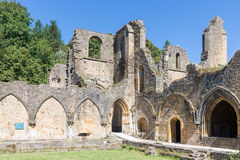 Ruins Orval Abbey in Belgian Ardennes. The abbey is also famous for its trappist beer and botanical garden Royalty Free Stock Images